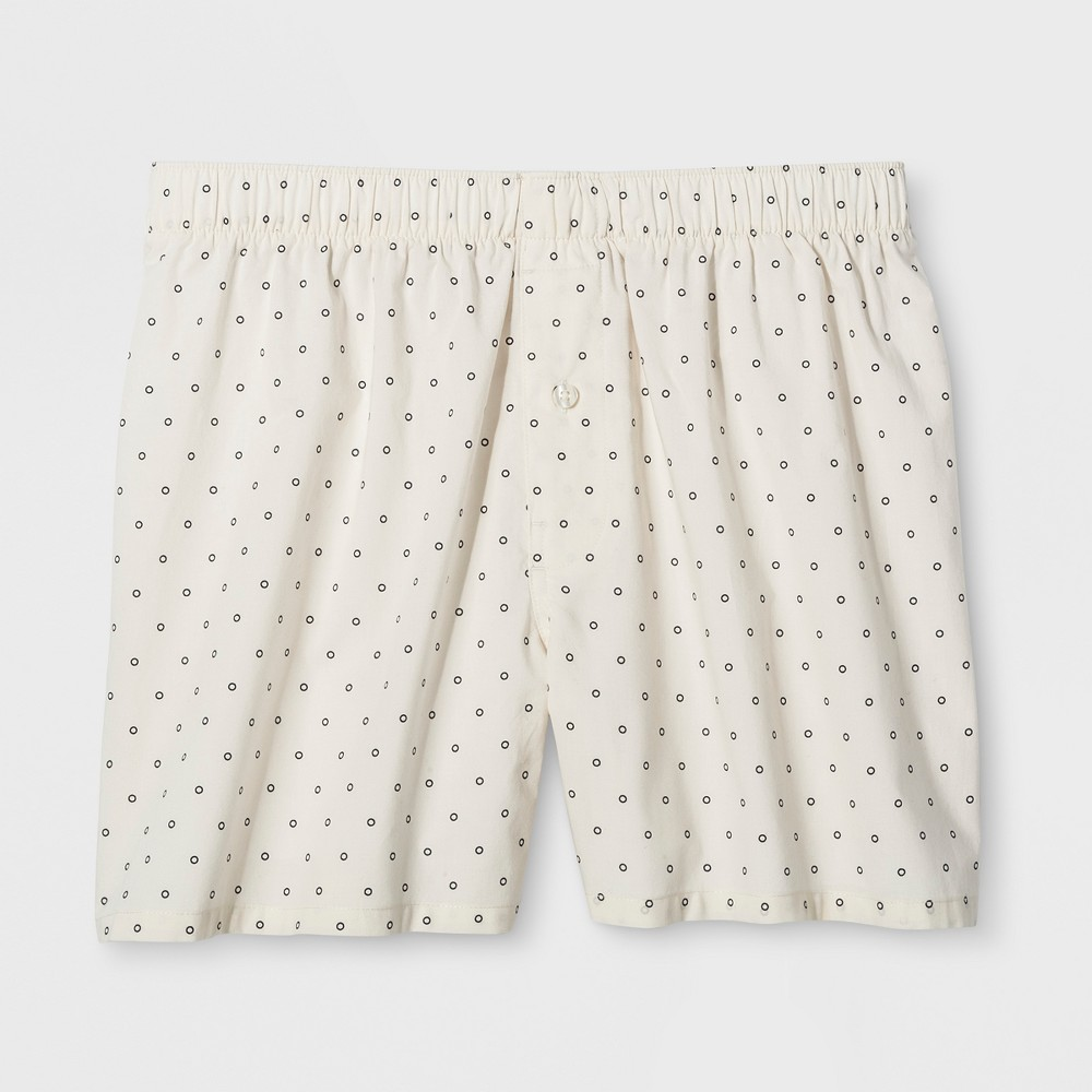 Men's Dotted Woven Boxer Shorts - Goodfellow & Co White L
