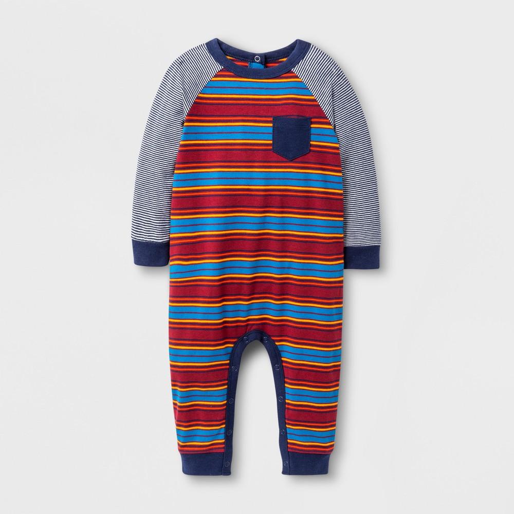 Baby Boys Striped Knit Romper - Cat & Jack Red Ribbon 3-6 M