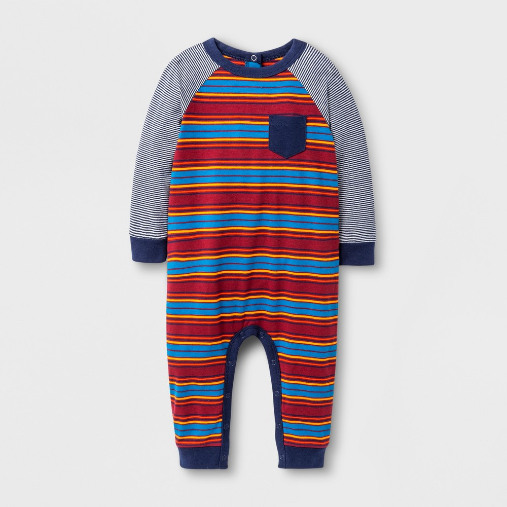 Baby Boys Striped Knit Romper - Cat & Jack Red Ribbon 6-9 M