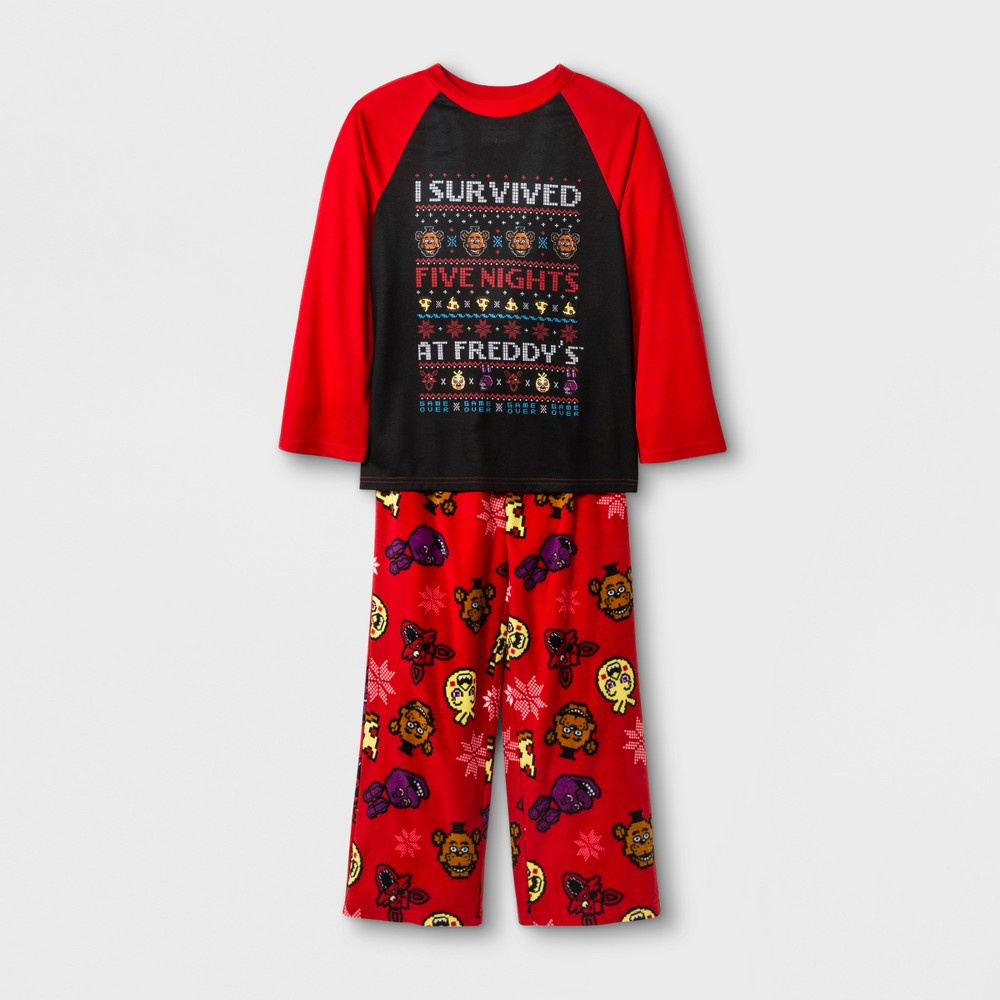 Boys Five Nights at Freddys 2 Piece Xmas Sweater Pajama Set - Red L