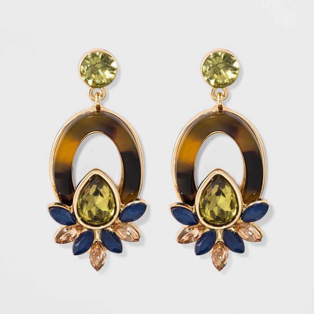 Womens Fashion Drop Earring - Green/Gold