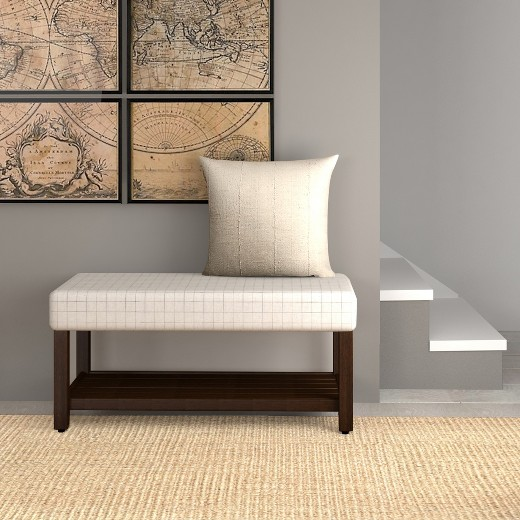 Decorative Bench With Storage Cream Windowpane Homepop Target