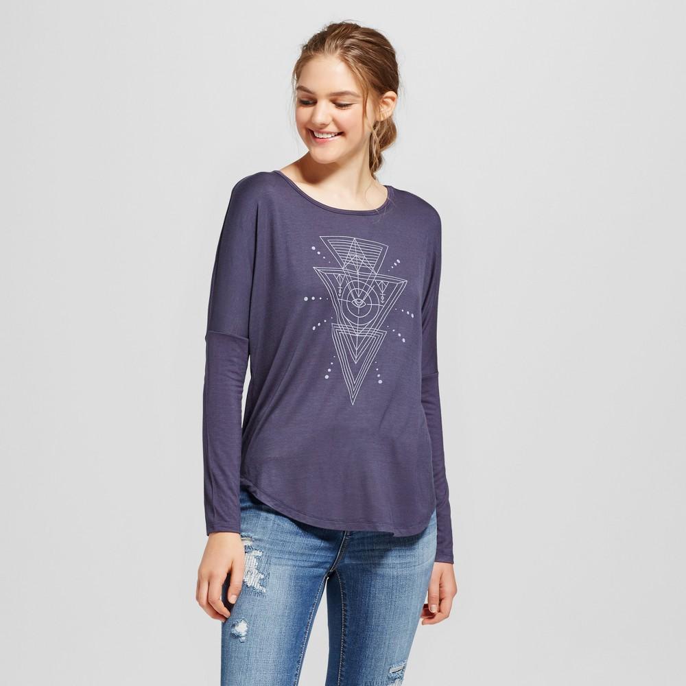 Womens Long Sleeve Mystic Image Graphic T-Shirt Navy XS - Zoe+Liv (Juniors), Blue