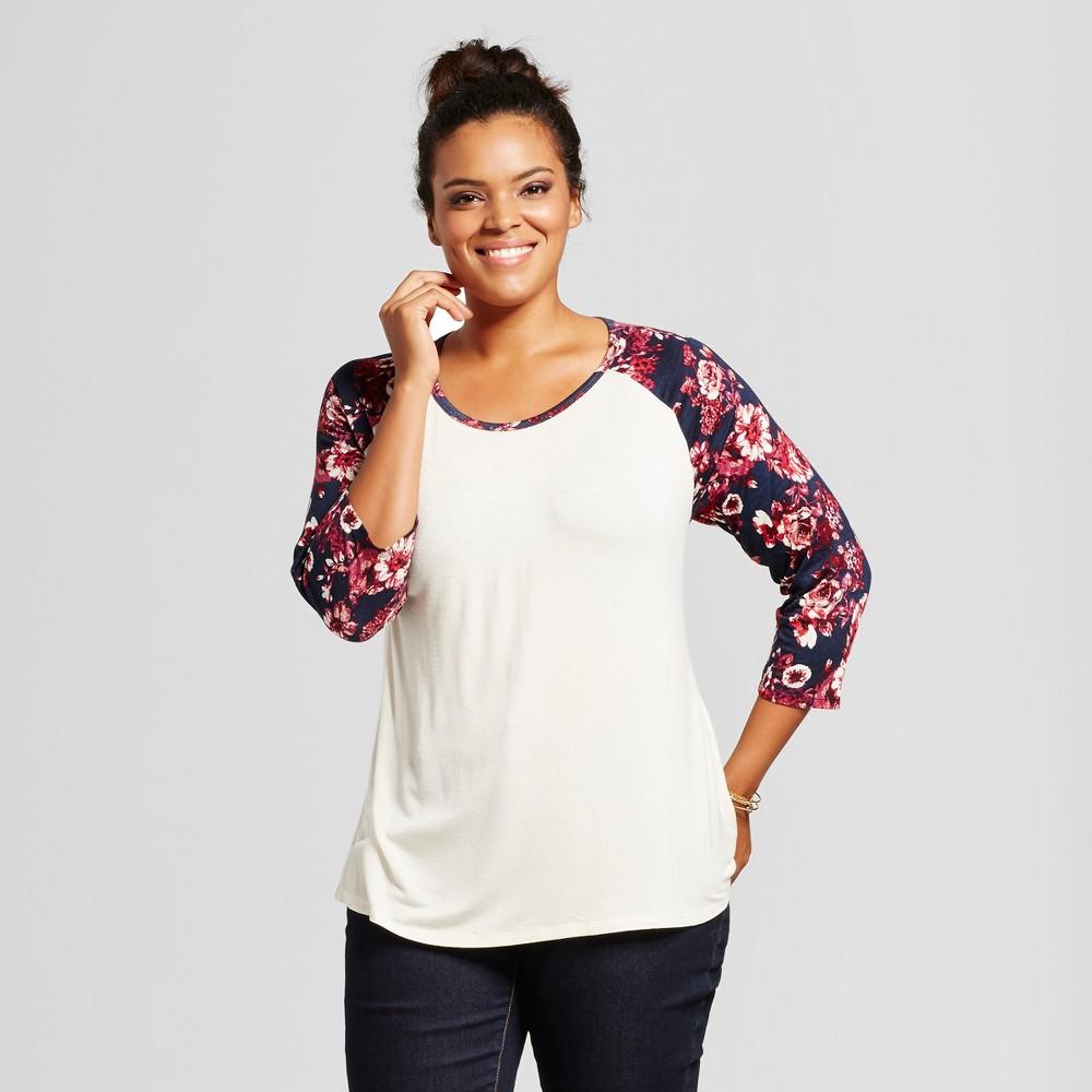 Womens Plus Size Mixed Print 3/4 Baseball Sleeve Top - Born Famous (Juniors) Cream 1X, Beige