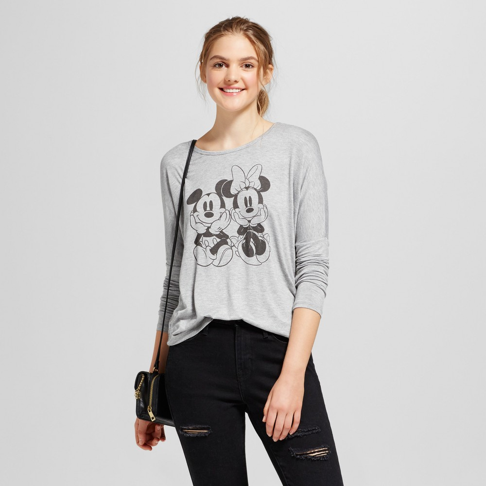 Womens Disney Minnie and Mickey Long Sleeve Graphic T-Shirt (Juniors) - Gray XS