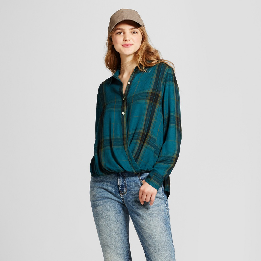 Womens Plaid Surplice Woven Top - Mossimo Supply Co. Blue XS
