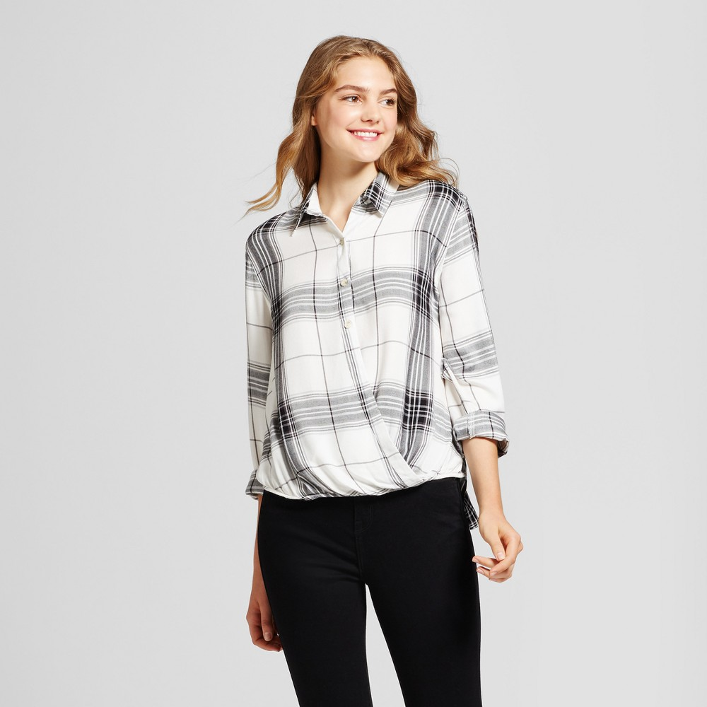 Womens Plaid Surplice Woven Top - Mossimo Supply Co. White XS