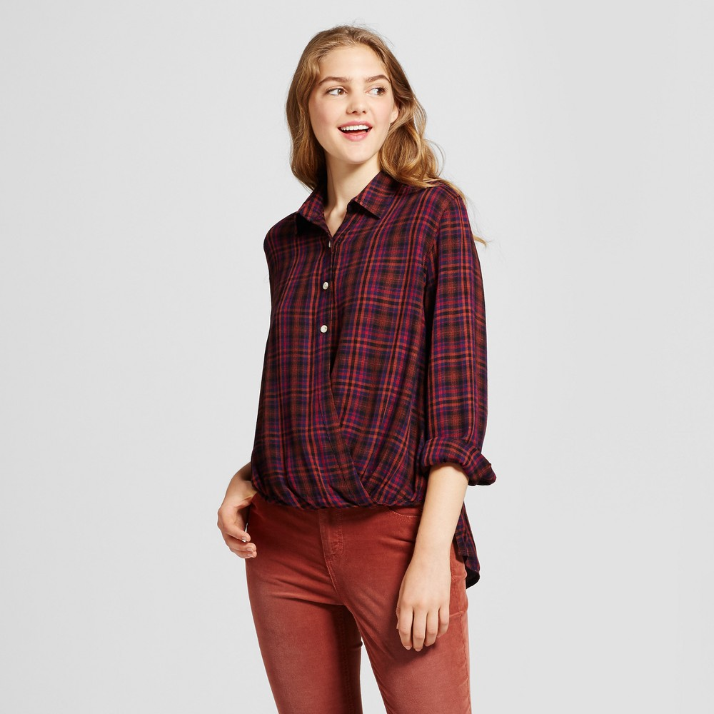 Womens Plaid Surplice Woven Top - Mossimo Supply Co. Burgundy (Red) Xxl