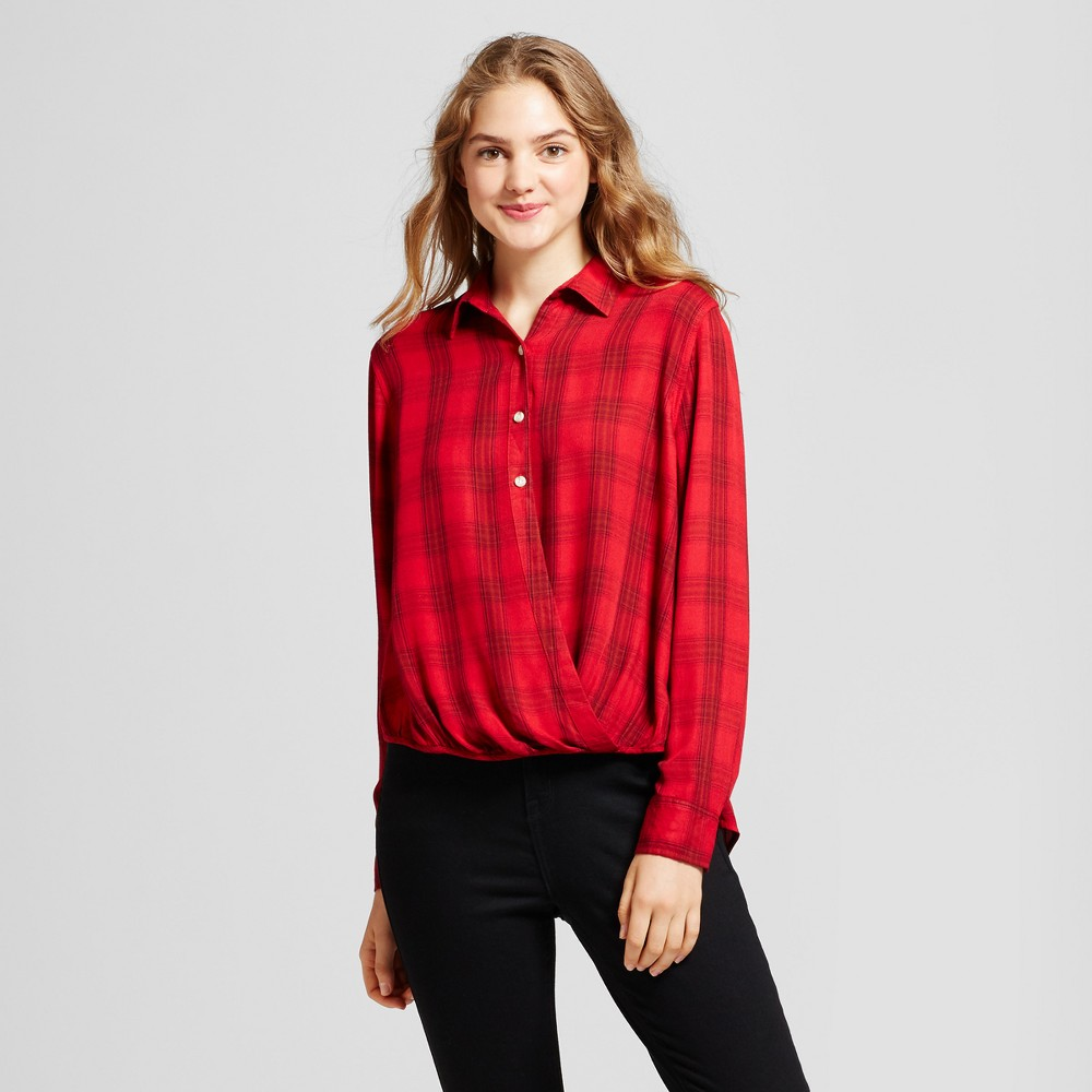 Womens Plaid Surplice Woven Top - Mossimo Supply Co. Red XS