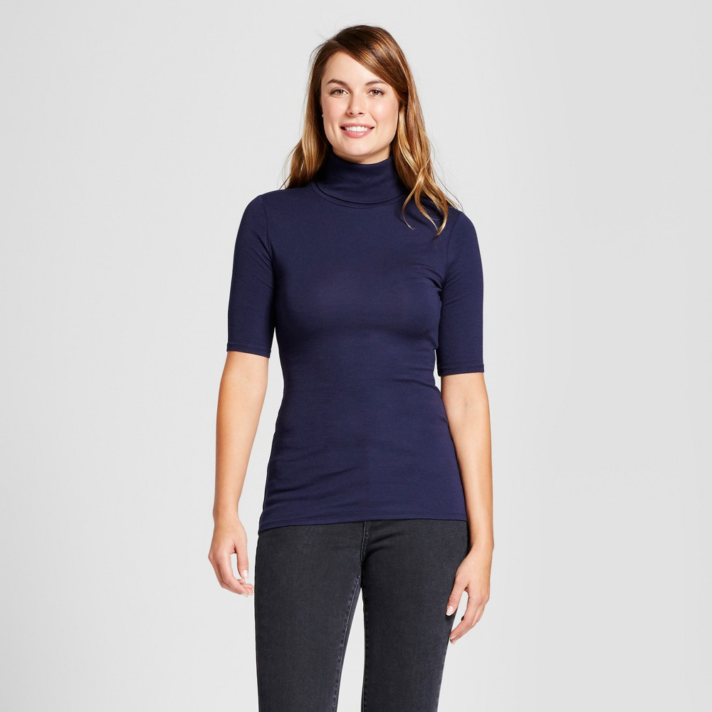 Womens Elbow Turtleneck - A New Day Navy (Blue) L
