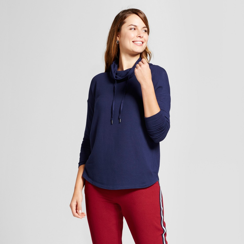 Womens Cozy Cowl Tunic - A New Day Navy (Blue) L