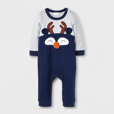 Baby Boys' Reindeer Romper - Cat & Jack™ Gray/Navy 12M