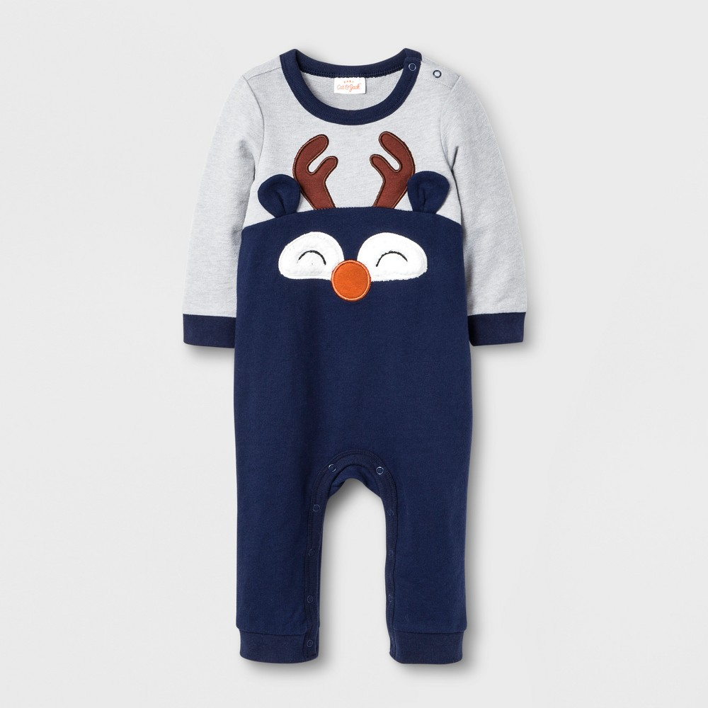 Baby Boys' Reindeer Romper - Cat & Jack Gray/Navy 12 Months, Brown