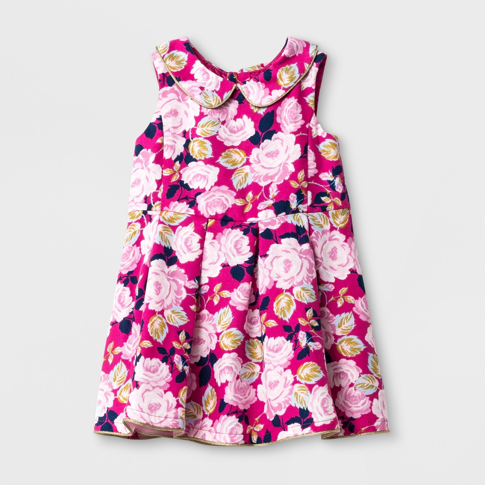 Toddler Girls Printed A Line Dress With Collar - Genuine Kids from OshKosh Floral Pink 3T