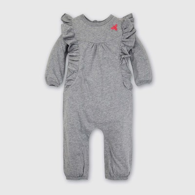 Burt's Bees Baby® Girls' Organic Ruffled Bubble Jumpsuit - Heather Gray 3-6M