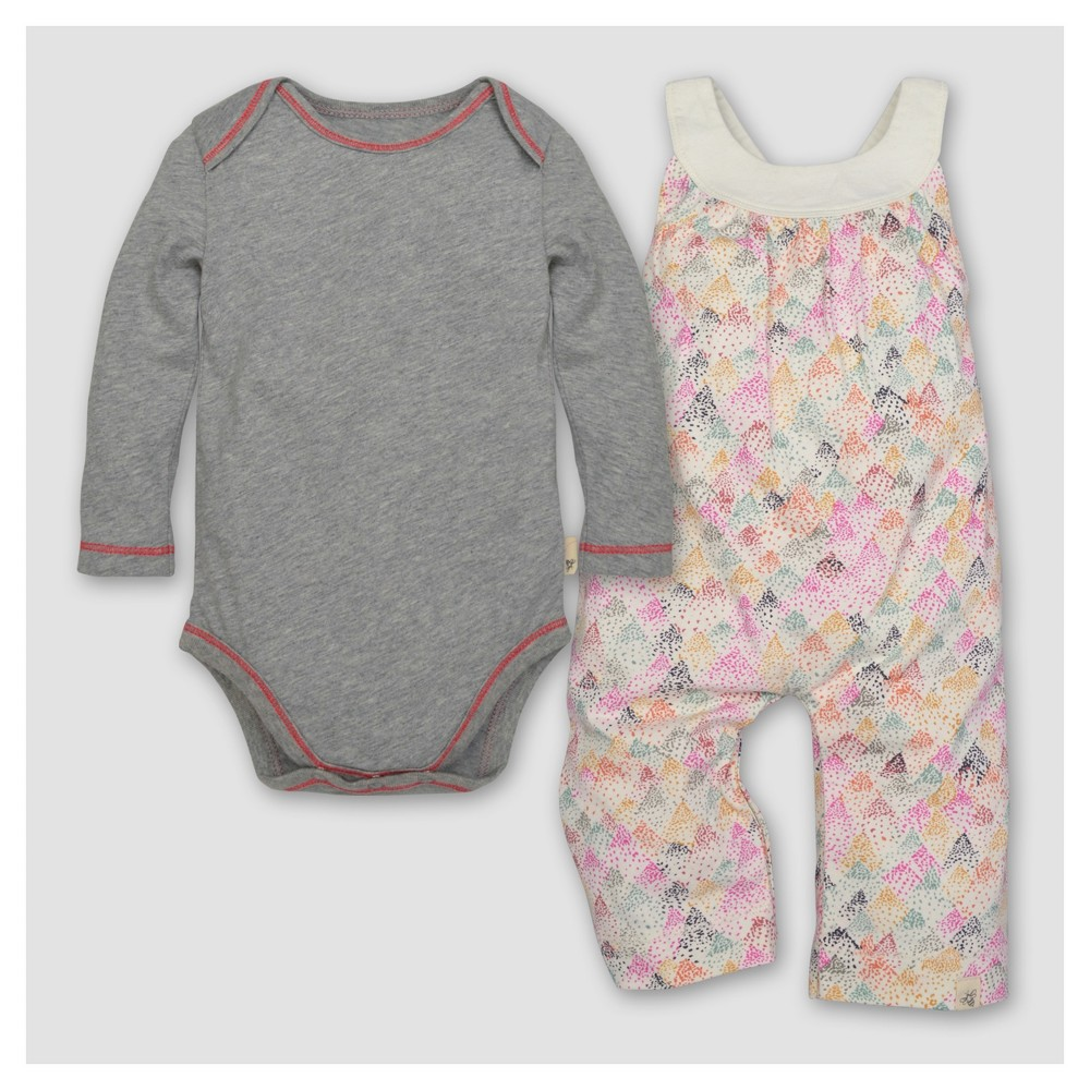 Burts Bees Baby Girls Dotted Mountains Overall & Bodysuit Set - Cream 18M, Size: 18 M, Beige