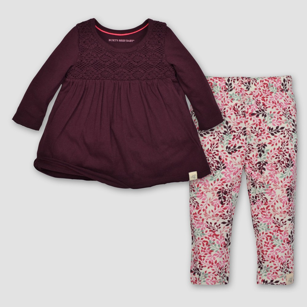 Burts Bees Baby Girls Crochet Yoke Tee & Leggings Set - Maroon 18M, Size: 18 M, Red
