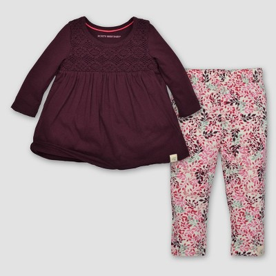 Burt's Bees Baby® Girls' Crochet Yoke Tee & Leggings Set - Maroon 6-9M