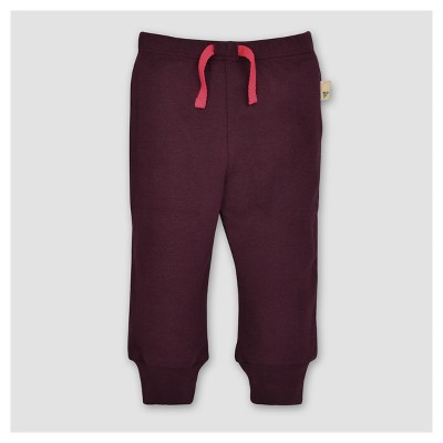 Burt's Bees Baby® Girls' Knit Jogger - Maroon 12M