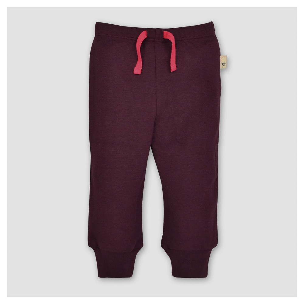 Burts Bees Baby Girls Knit Jogger - Maroon 12M, Size: 12 M, Red