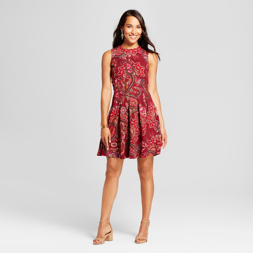 Womens Fit and Flare Printed Scuba Crepe Dress - Spenser Jeremy Red Combo 10
