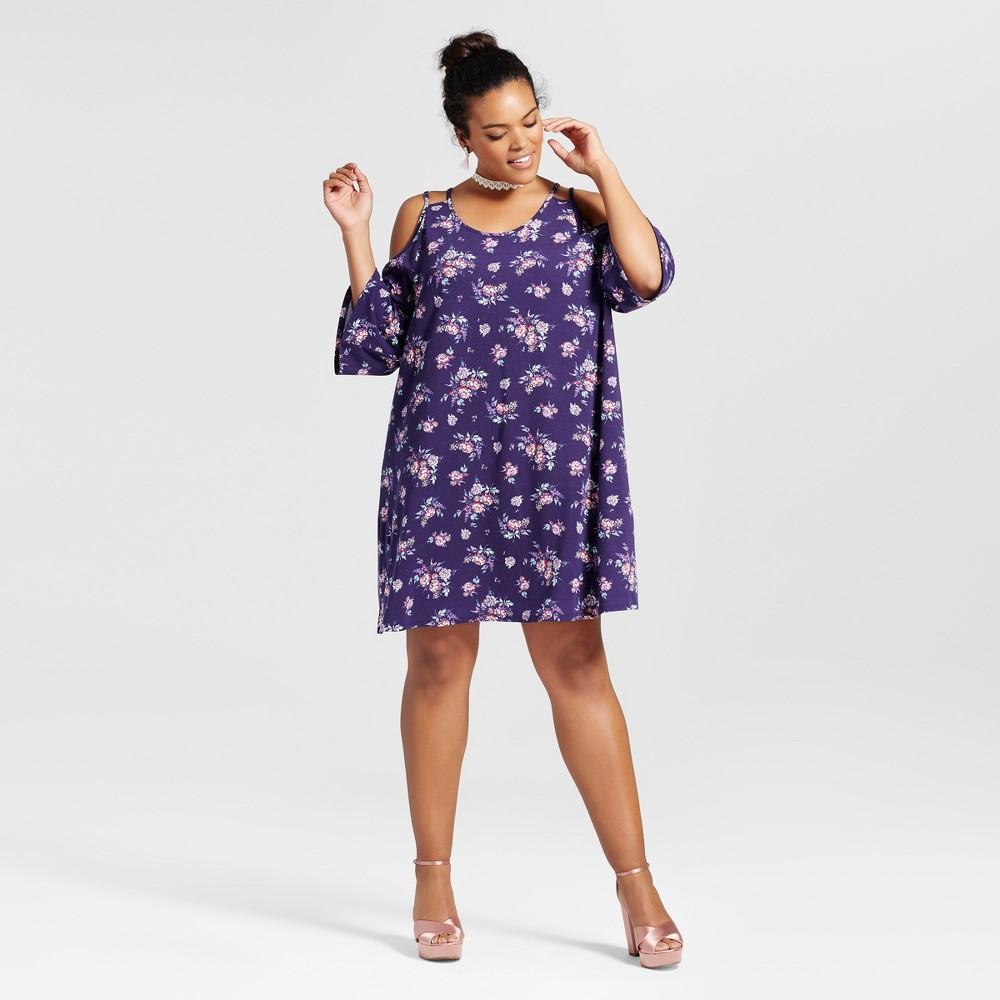 Womens Plus Size Floral Print Cold Shoulder Dress - Grayson Threads (Juniors) Purple 1X, Blue