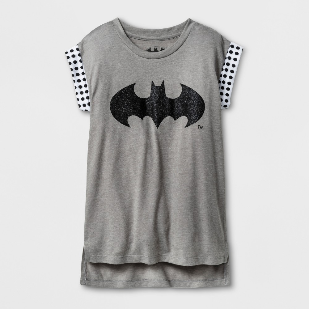 Girls Batman Tank Tops - Athletic Heather - L, Gray