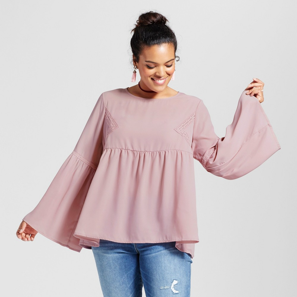 Womens Plus Size Bell Sleeve Blouse - Grayson Threads (Juniors) Lilac Bud 1X