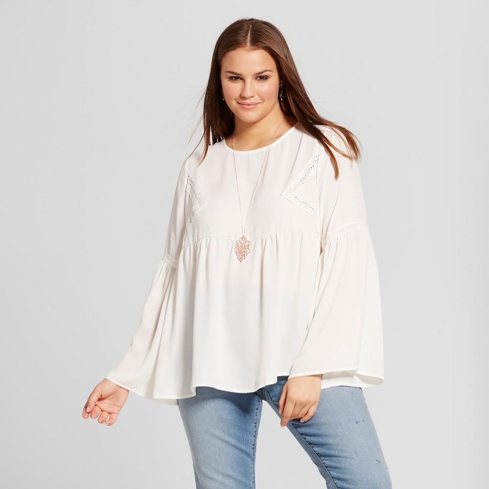 Womens Plus Size Bell Sleeve Blouse - Grayson Threads (Juniors) Panna Cream 1X