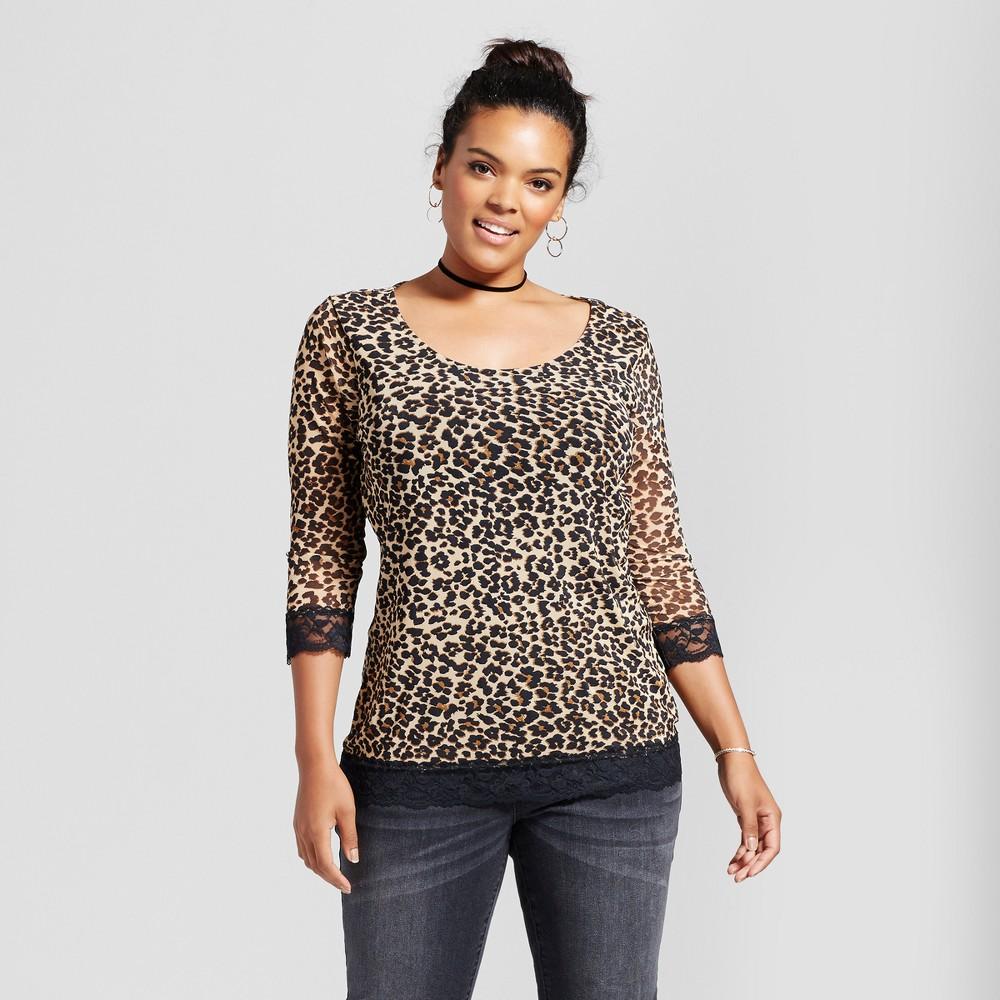 Womens Plus Size Leopard Spot Printed Mesh Blouse - Almost Famous (Juniors) Brown 2X