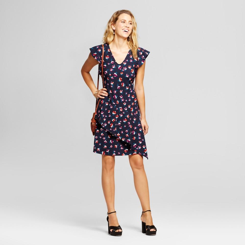 Womens Printed V-Neck Flutter Sleeve Scuba Crepe Dress - Spenser Jeremy Navy Combo 6, Blue