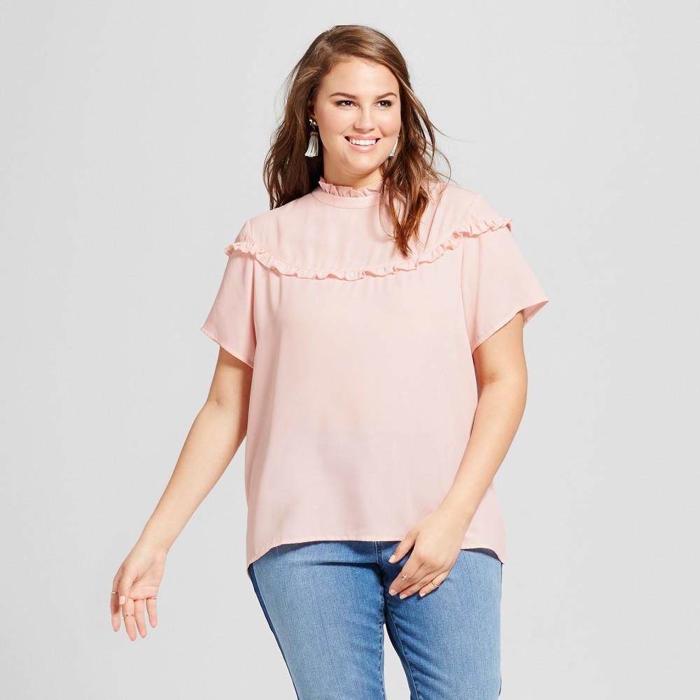 Womens Plus Size Ruffled High Neck Blouse - Grayson Threads (Juniors) Blush Peach 3X