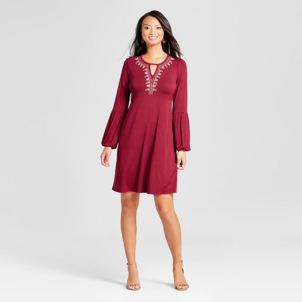 Womens Embroidered Long Sleeve V-Neck Knit Dress - Spenser Jeremy Wine S, Red