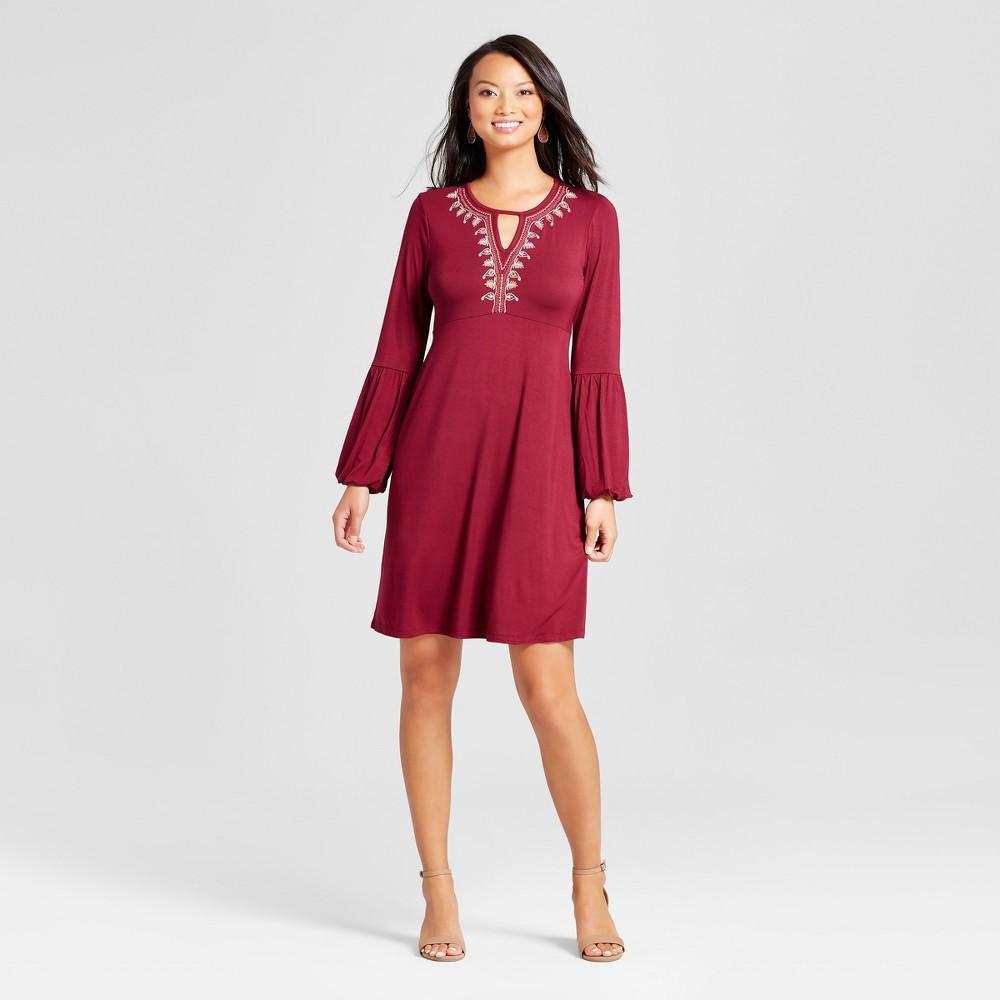 Womens Embroidered Long Sleeve V-Neck Knit Dress - Spenser Jeremy Wine M, Red