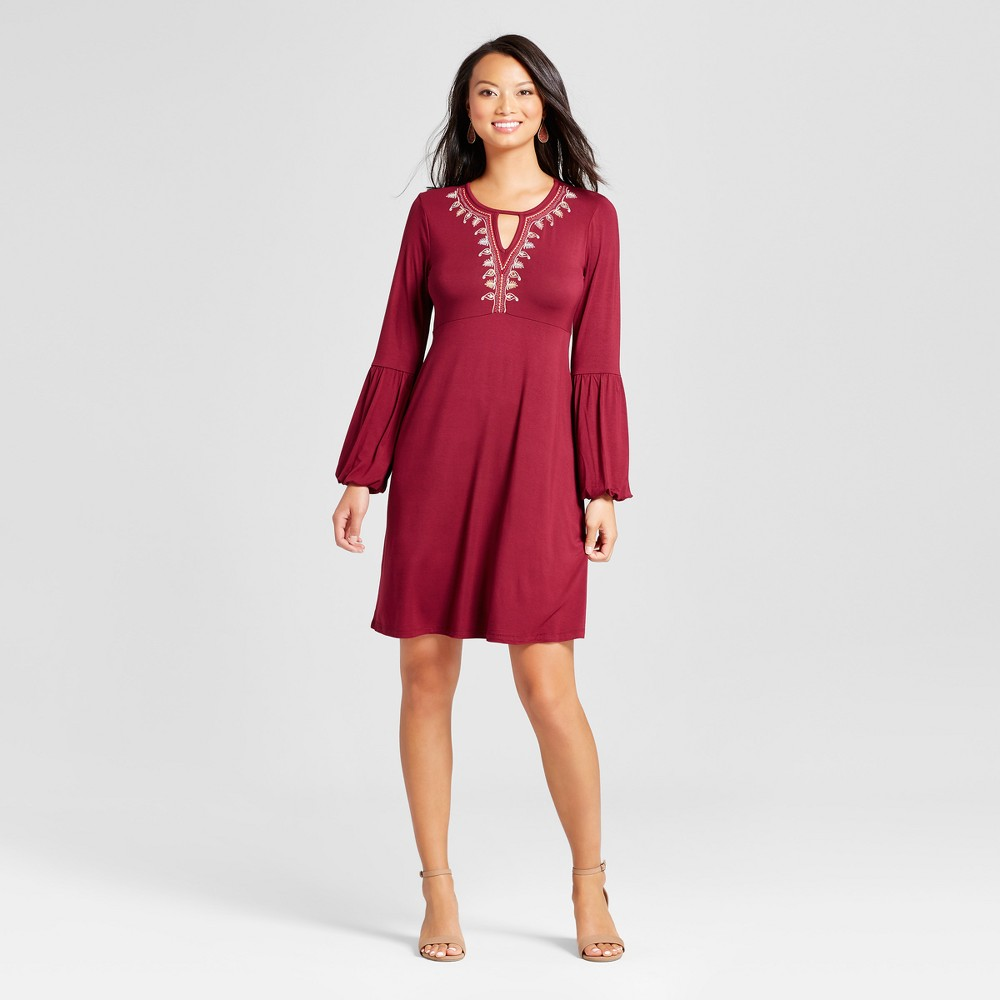 Womens Embroidered Long Sleeve V-Neck Knit Dress - Spenser Jeremy Wine L, Red