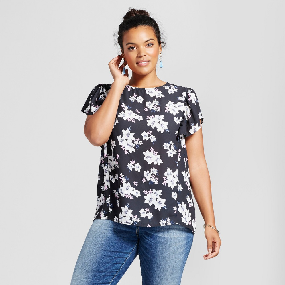 Womens Plus Size Floral Ruffled Sleeve Blouse - Grayson Threads (Juniors) Vintage Black 2X