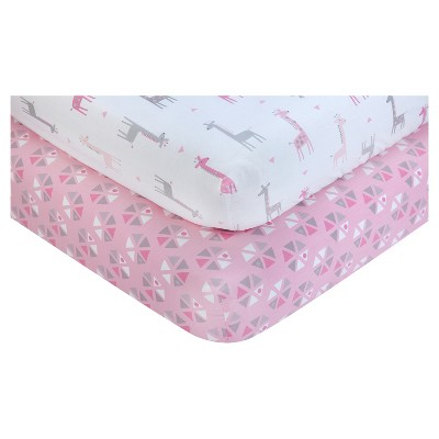 Little Love by NoJo® Fitted Crib Sheet - Giraffe Time - 2pk - Pink