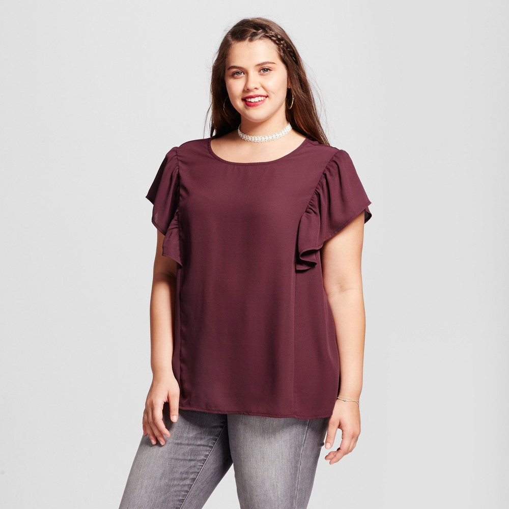 Womens Plus Size Scoop Neck Ruffled Sleeve Blouse - Grayson Threads (Juniors) Maroon (Red) 2X