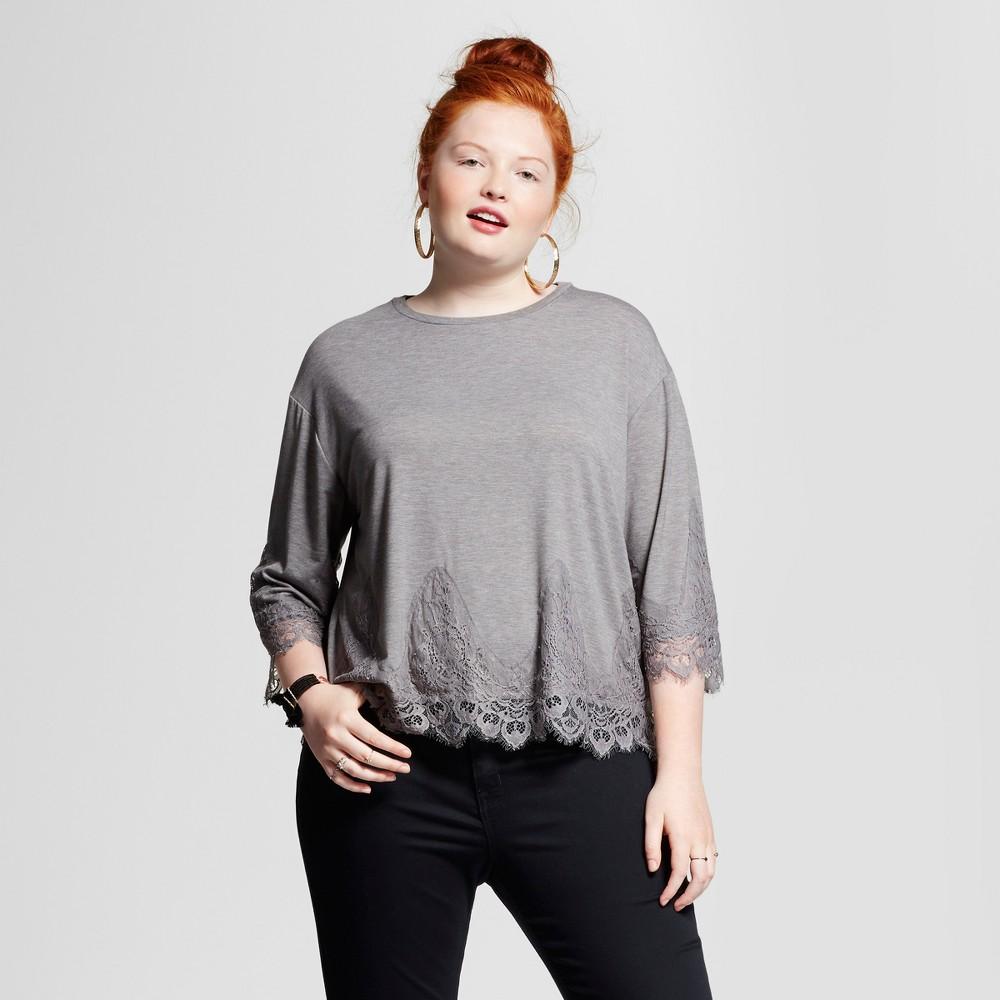 Womens Plus Size 3/4 Sleeve Lace Detailed Blouse - Grayson Threads (Juniors) Tea Rose 2X
