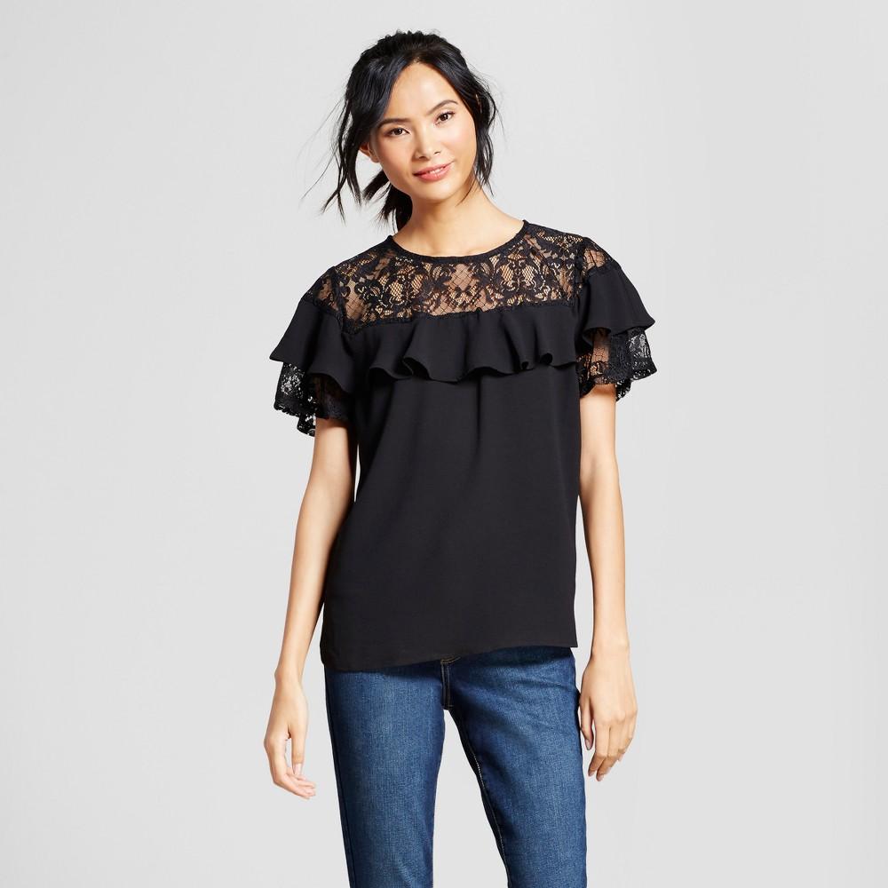 Womens Short Sleeve Ruffle Top with Lace Yoke - Loramendi Black L