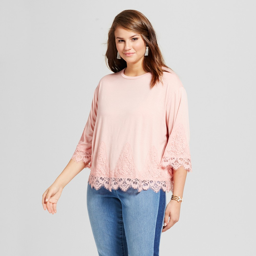 Womens Plus Size 3/4 Sleeve Lace Detailed Blouse - Grayson Threads (Juniors) Concrete 2X