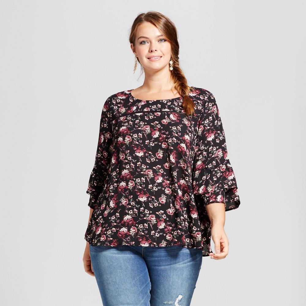 Womens Plus Size Floral Double Ruffle Blouse - Born Famous (Juniors) Black 2X