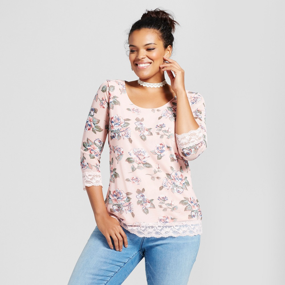 Womens Plus Size Floral Printed Mesh Blouse - Almost Famous (Juniors) Pink 2X