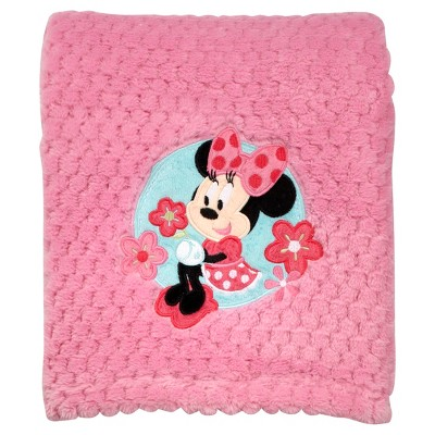 Disney© Appliqued Popcorn Fleece Blanket - Minnie Mouse