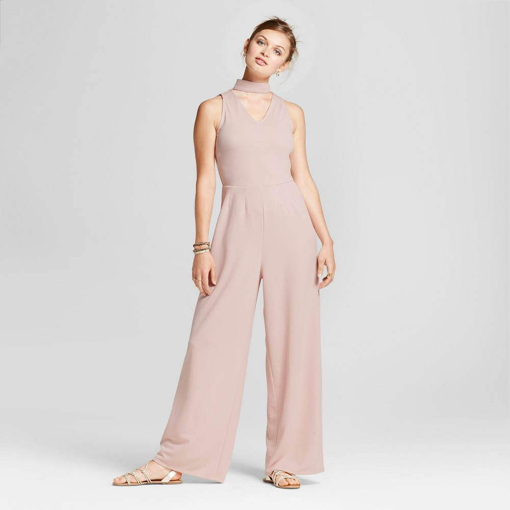 Womens Mock Neck Cut Out Jumpsuit - Love @ First Sight (Juniors) Pink M