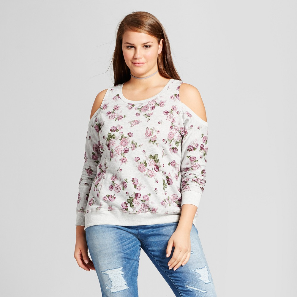 Womens Plus Size Floral Printed Cold Shoulder Sweatshirt - No Comment - Heather Gray 2X