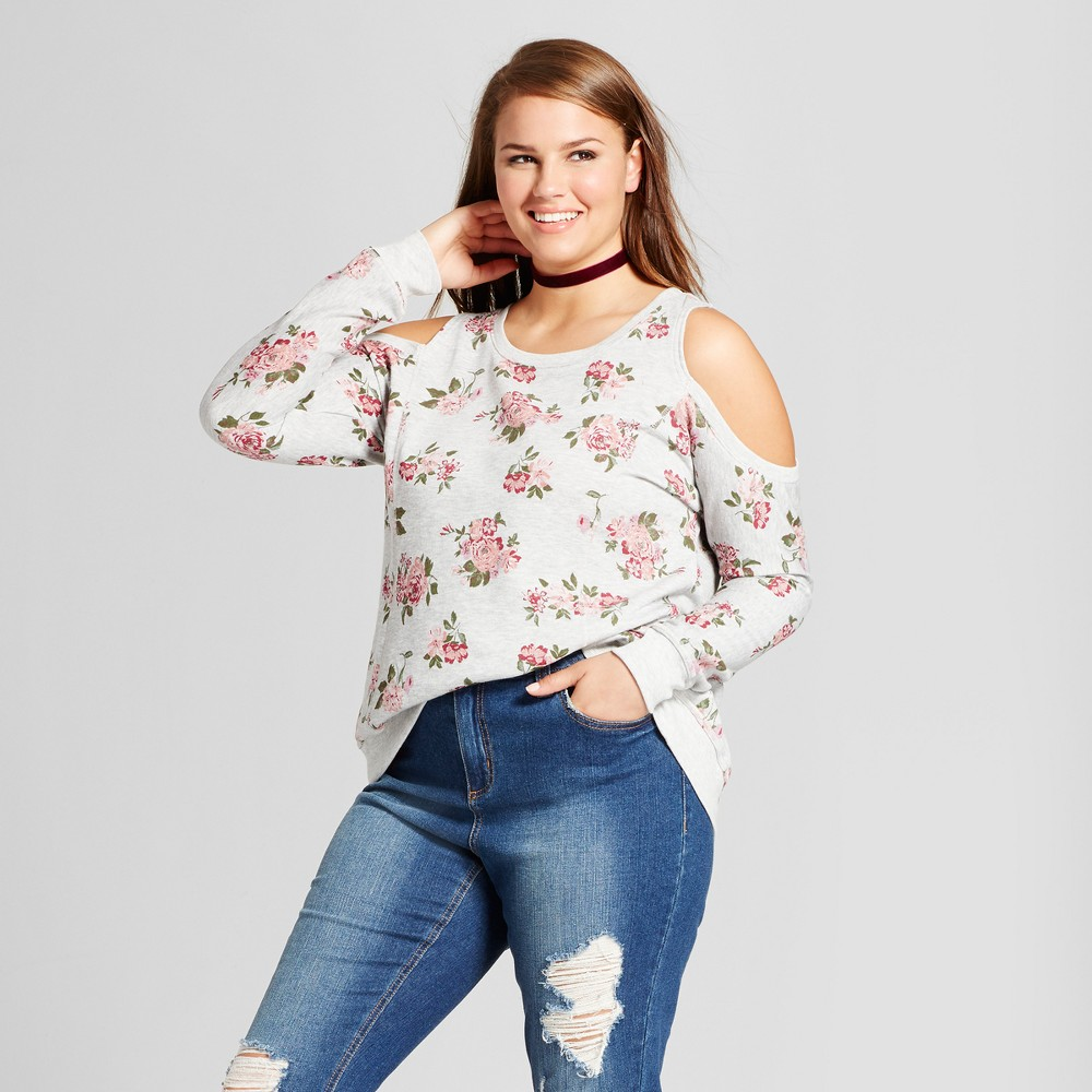 Womens Plus Size Floral Printed Cold Shoulder Sweatshirt - No Comment - Gray 2X