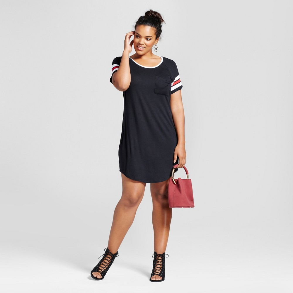 Womens Plus Size Slouchy Football Dress - No Comment Black 3X