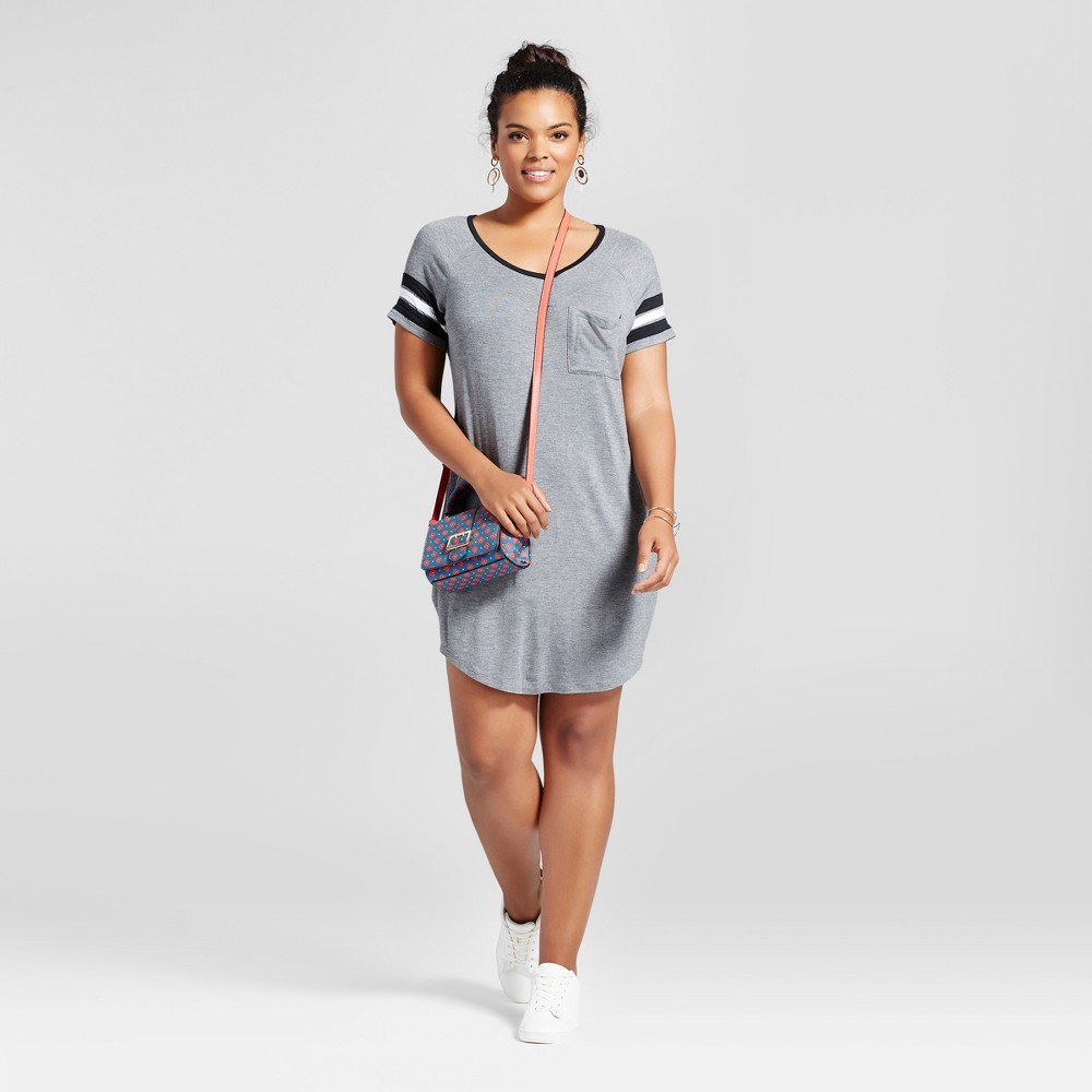 Womens Plus Size Slouchy Football Dress - No Comment Gray 2X