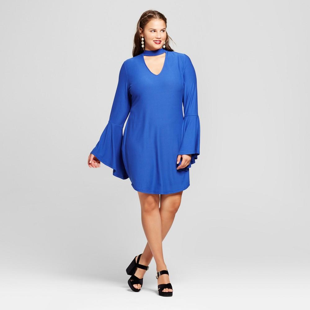 Womens Plus Size Keyhole Neckline Dress - No Comment - Blue 2X